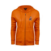 ENZA Ladies Orange Fleece Full Zip Hoodie-Mascot