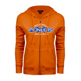 ENZA Ladies Orange Fleece Full Zip Hoodie-Cheer and Stunt