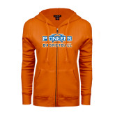 ENZA Ladies Orange Fleece Full Zip Hoodie-Pioneers Basketball