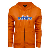 ENZA Ladies Orange Fleece Full Zip Hoodie-Pioneers Wrestling