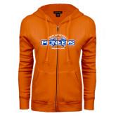 ENZA Ladies Orange Fleece Full Zip Hoodie-Pioneers Wrestling