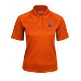 Ladies Orange Textured Saddle Shoulder Polo-Mascot