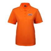Ladies Easycare Orange Pique Polo-Crossed Axes
