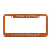 Metal Orange License Plate Frame-Grandpa