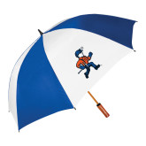 62 Inch Royal/White Umbrella-Mascot