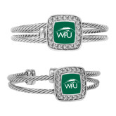 Crystal Studded Cable Cuff Bracelet With Square Pendant-WPU Primary Mark