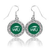 Crystal Studded Round Pendant Silver Dangle Earrings-WPU Primary Mark