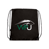Black Drawstring Backpack-WPU Primary Mark
