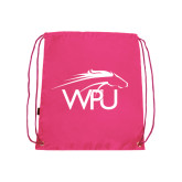 Pink Drawstring Backpack-WPU Primary Mark