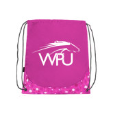 Nylon Pink Bubble Patterned Drawstring Backpack-WPU Primary Mark
