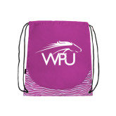 Nylon Zebra Pink/White Patterned Drawstring Backpack-WPU Primary Mark