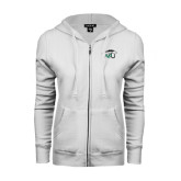 ENZA Ladies White Fleece Full Zip Hoodie-WPU Primary Mark