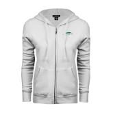ENZA Ladies White Fleece Full Zip Hoodie-Pacer Head
