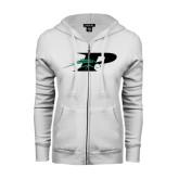 ENZA Ladies White Fleece Full Zip Hoodie-P w/Pacer