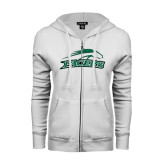 ENZA Ladies White Fleece Full Zip Hoodie-Arched Pacer w/ Pacer