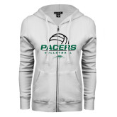 ENZA Ladies White Fleece Full Zip Hoodie-Pacers Volleyball Stacked
