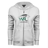 ENZA Ladies White Fleece Full Zip Hoodie-Lacrosse