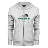 ENZA Ladies White Fleece Full Zip Hoodie-Pacers Lacrosse Stacked