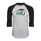 White/Black Raglan Baseball T-Shirt-WPU Primary Mark