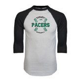 White/Black Raglan Baseball T-Shirt-Baseball Seams Design