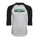 White/Black Raglan Baseball T-Shirt-Softball Bar Design