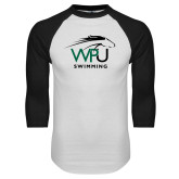 White/Black Raglan Baseball T Shirt-Swimming