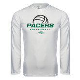 Performance White Longsleeve Shirt-Pacers Volleyball Stacked