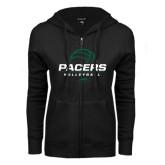 ENZA Ladies Black Fleece Full Zip Hoodie-Pacers Volleyball Stacked
