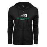 ENZA Ladies Black Fleece Full Zip Hoodie-Pacers Lacrosse Stacked