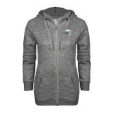 ENZA Ladies Grey/Black Marled Full Zip Hoodie-WPU Primary Mark