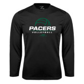 Performance Black Longsleeve Shirt-Pacers Volleyball Stacked