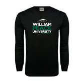 Black Long Sleeve TShirt-William Peace University Stacked