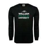 Black Long Sleeve TShirt-William Peace University Stacked