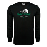Black Long Sleeve TShirt-Pacers Lacrosse Stacked