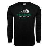 Black Long Sleeve TShirt-Pacers Lacrosse Stacked