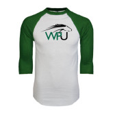 White/Dark Green Raglan Baseball T-Shirt-WPU Primary Mark
