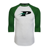 White/Dark Green Raglan Baseball T-Shirt-P w/Pacer