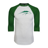 White/Dark Green Raglan Baseball T-Shirt-Pacer Head