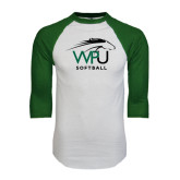 White/Dark Green Raglan Baseball T-Shirt-Softball