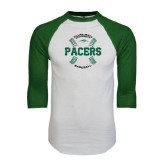 White/Dark Green Raglan Baseball T-Shirt-Baseball Seams Design