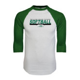 White/Dark Green Raglan Baseball T-Shirt-Softball Bar Design