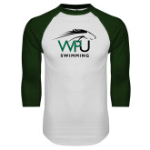White/Dark Green Raglan Baseball T Shirt-Swimming
