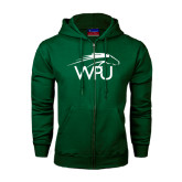 Dark Green Fleece Full Zip Hoodie-WPU Primary Mark