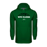 Under Armour Dark Green Performance Sweats Team Hoodie-Basketball Half Ball Design