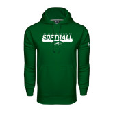 Under Armour Dark Green Performance Sweats Team Hoodie-Softball Bar Design