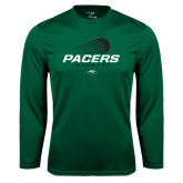 Performance Dark Green Longsleeve Shirt-Pacers Lacrosse Stacked