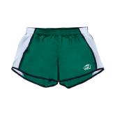 Ladies Dark Green/White Team Short-WPU Primary Mark