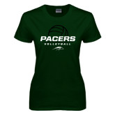 Ladies Dark Green T Shirt-Pacers Volleyball Stacked