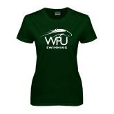Ladies Dark Green T Shirt-Swimming