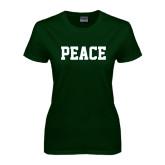 Ladies Dark Green T Shirt-PEACE